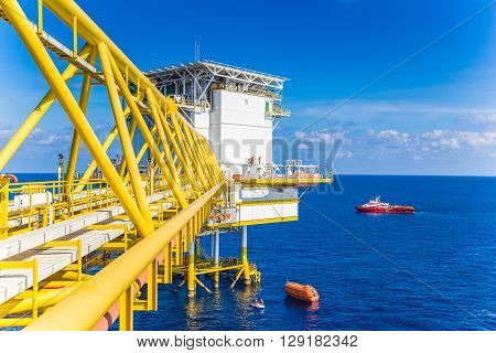 Rescue boat or life boat landed at oil and gas platform while testing the system to ensure ready for use