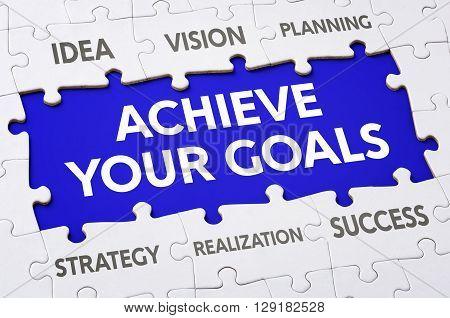 Text On Puzzle Pieces - Achieve Your Goals