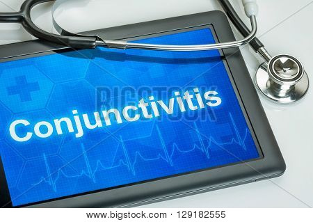 Tablet With The Diagnosis Conjunctivitis On The Display