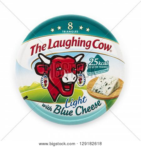 SWINDON UK - APRIL 18 2016: Packet of The Laughing Cow light with blue cheese spread isolated on white background