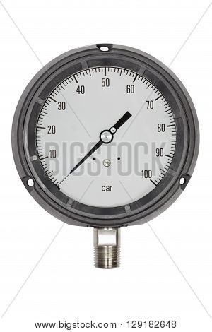 Pressure gauge in BAR unit bourdon tube type isolate on white with clipping path