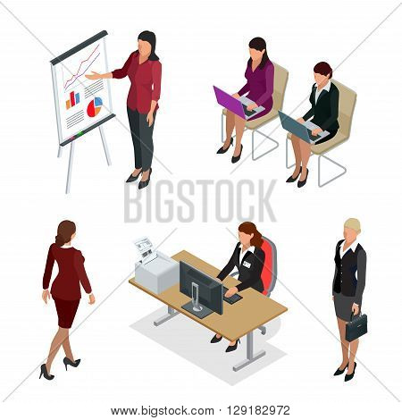 Business woman isometric set. Business woman isolated flat 3d vector illustration