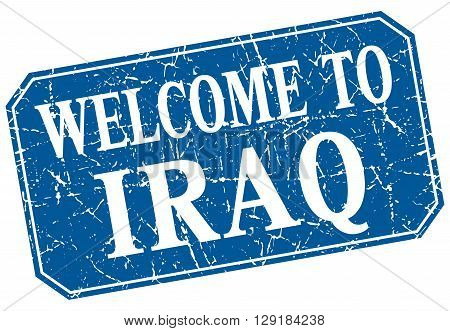 welcome to Iraq blue square grunge stamp
