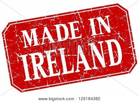 made in Ireland red square grunge stamp