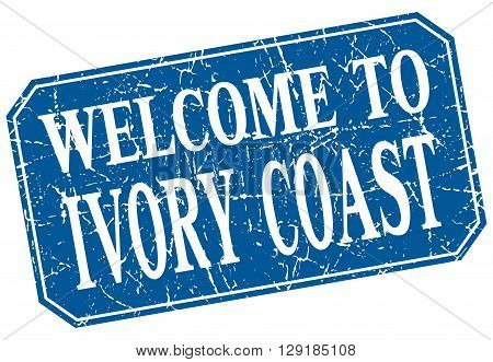 welcome to Ivory Coast blue square grunge stamp