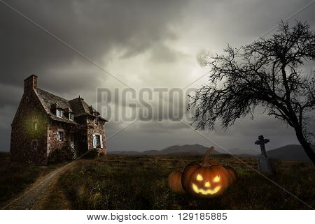 Apocalyptic Halloween scenery with old house pumpkin