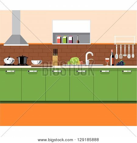 A kitchen plane with green furniture and brown bricks wall with bottles set of knives wine glasses washstand and other accessories digital vector image