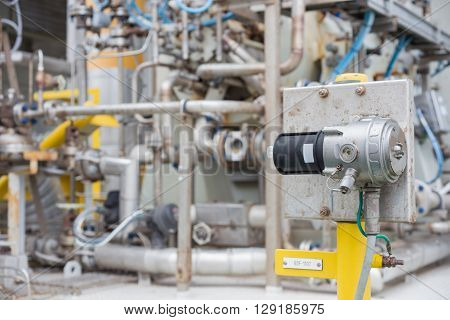 Gas detector point type installed near gas compressor bundle to detect gas leak and send alarm to oil and gas central control room