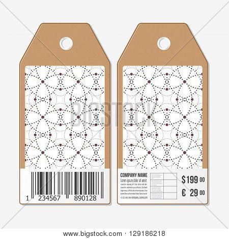 Vector tags design on both sides, cardboard sale labels with barcode. Dotted repeating modern stylish geometric background with circles and nodes. Simple abstract monochrome texture.
