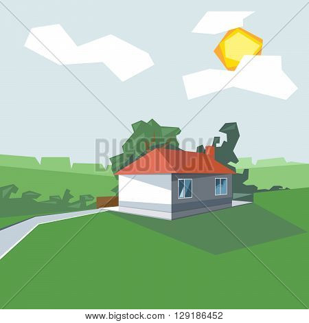 A house in 1 floor view from perspective with windows and the sun in the clouds near green garden digital vector image