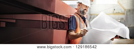 Engineer Architect Construction Site Planning Concept
