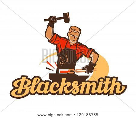 blacksmith vector logo. anvil or smithy icon