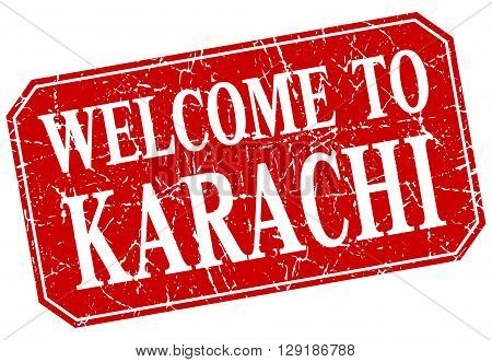 welcome to Karachi red square grunge stamp