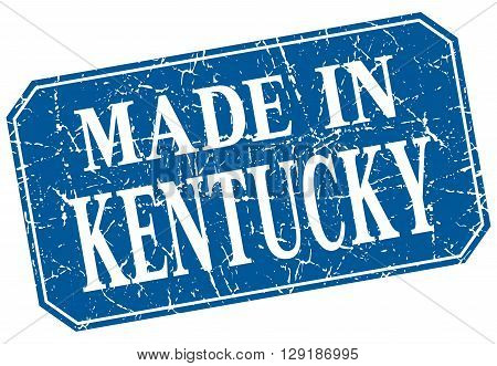 made in Kentucky blue square grunge stamp