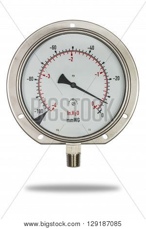 Pressure gauge stainless steel body burdon tube type in inH2o unit isolate on white with clipping path