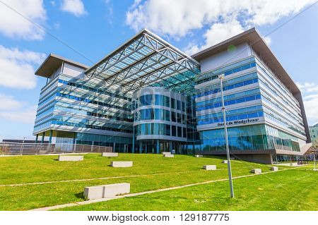 Utrecht Netherlands - April 20 2016: modern building at the university campus. The campus The Uithof is well known for its extraordinary and experimental architecture