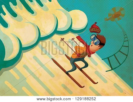 Extreme Sports. Skier rescued from avalanche. Creative illustration.