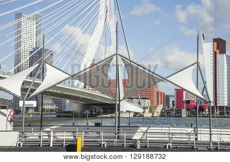 view to Rotterdam city harbour, future architecture concept, bright landscape