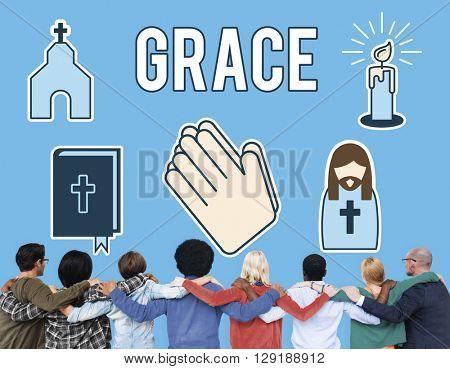 Grace Graceful Hope Jesus Christ Spiritual Worship Concept