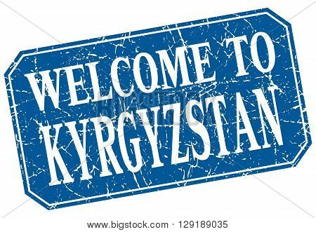welcome to Kyrgyzstan blue square grunge stamp