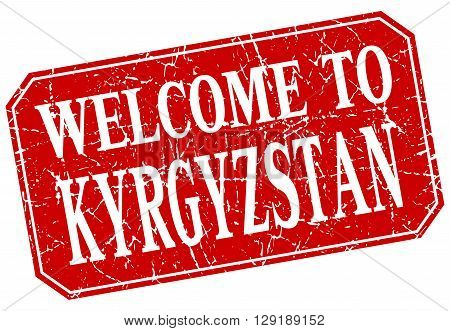 welcome to Kyrgyzstan red square grunge stamp