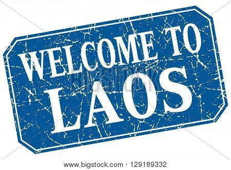 welcome to Laos blue square grunge stamp