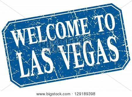welcome to Las Vegas blue square grunge stamp