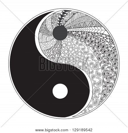 Yin and yang decorative symbol. Hand drawn zentangle style design element. Vector illustration for coloring logos t-shirts websites t-shirt print isolated on white background