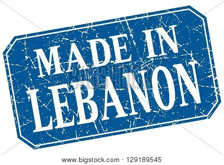 made in Lebanon blue square grunge stamp