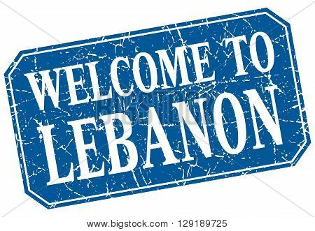 welcome to Lebanon blue square grunge stamp