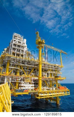 Oil and gas production platform to separates oil gas and condensate and sent condensate to storage boat,and gas compressed and sent to on refinery and the last one water injected to water reservior.