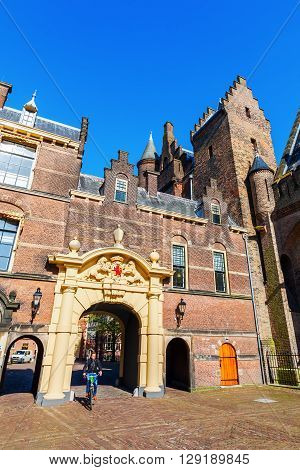 The Hague Netherlands - April 21 2016: Binnenhof with unidentified people. Since 1446 there meeting the parliament. The Binnenhof is the oldest House of Parliament in the world still in use.