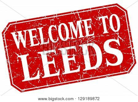 welcome to Leeds red square grunge stamp