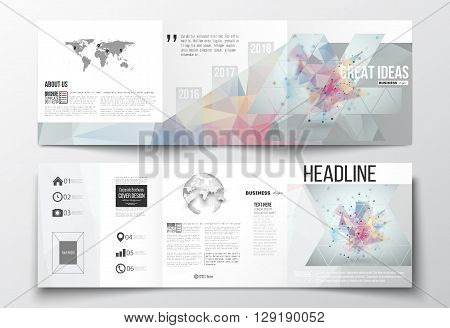Vector set of tri-fold brochures, square design templates. Molecular construction with connected lines and dots, scientific pattern on abstract colorful polygonal background, triangle vector texture