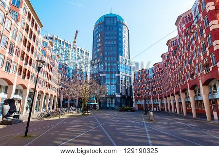 The Hague Netherlands - April 20 2016: The Muzenplein is a square in the heart of the architecture project Resident located between city center and central station designed by Adolfo Natalini