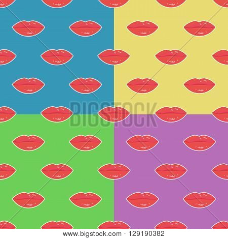Sweet lips with red lipstick seamless pattern. Beautiful woman lips with red lipstick and gloss. Sweet and sexy lips make-up. Vector pop-art seamless pattern. Set of patterns with woman lips.