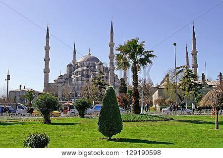 ISTANBUL, TURKEY - MARCH 09, 2008: Sultan Ahmed Mosque (Blue Mosque) and tourists in Istanbul, Turkey. The mosque is popularly known as the Blue Mosque for the blue tiles adorning the walls of its interior