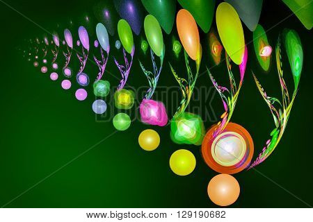 Fractal image on a dark green background - round and oval brightly colored beads glowing from within.