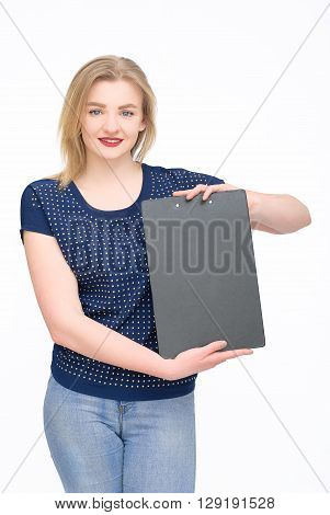 Portrait of beautiful woman in blue holding copy space