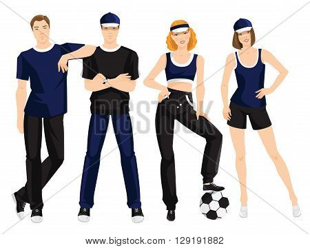 Vector illustration of young man in sportswear isolated on white background. Group of people in clothes for sport or fitness
