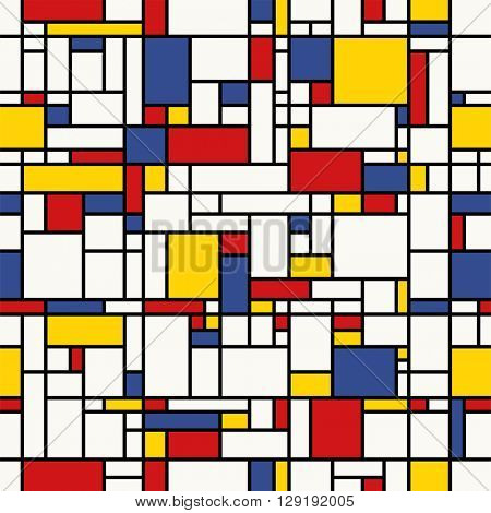 Seamless abstract mosaic pattern. (Mondrian emulation).