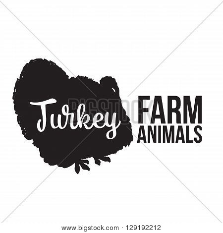 Black contour farm animal with a white lettering  inscription inside, Logo turkey bird vector animal, outline for the product, vector illustration contour farming turkey bird with lettering