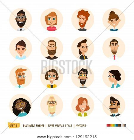 Cartoon business people avatars set. EPS 10