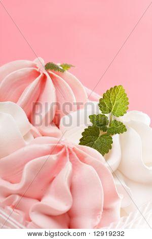 Strawberry and vanilla ice cream
