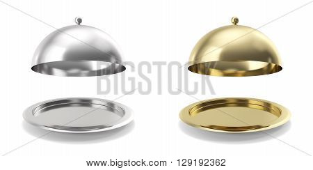 Set, collection opened cloche on white background.