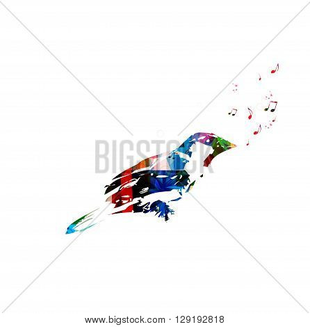 Vector illustration of colorful bird singing background