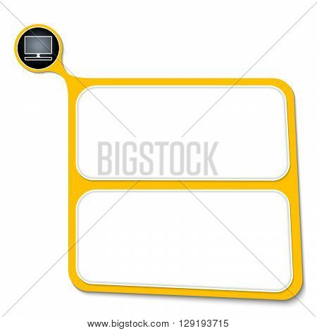 Abstract yellow box for your text and tv icon