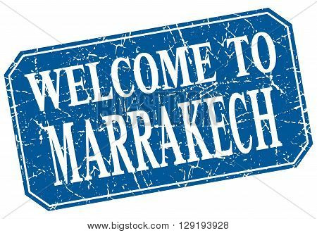 welcome to Marrakech blue square grunge stamp
