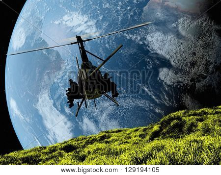 Military helicopter against the backdrop of the Earth..