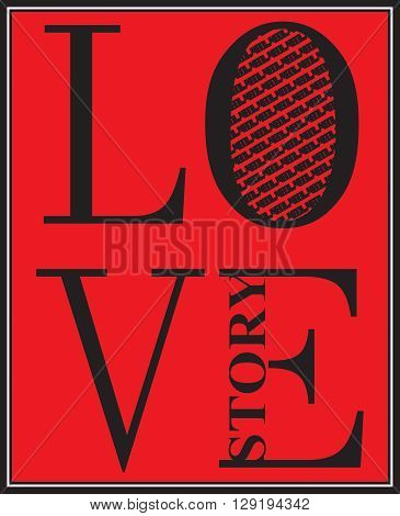 vector illustration  love story design in black and red background with pattern lines
